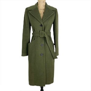 Identi Wool Blend Olive Trench Coat